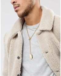 ASOS - Metallic Necklace In Gold With Tag Pendant for Men - Lyst