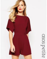 ASOS | Purple Petite Kimono Playsuit With D Ring & Open Back | Lyst