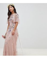 2f07c2f2c9ba Women's Pink Asos Design Petite Floral Embroidered Dobby Mesh Flutter  Sleeve Maxi Dress