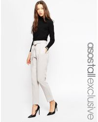 ASOS - Gray Co-ord Belted Slim Leg Tailored Trouser - Grey - Lyst