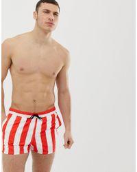 Short de bain court à rayures - Rouge et blanc ASOS pour homme en coloris Multicolor