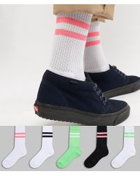 ASOS Sport Style Socks With Neon Green & Bright Pink Highlights 5 Pack for men