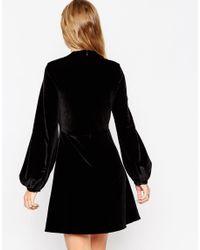 Needle & Thread | Black Bell-Sleeve Velvet Mini Dress  | Lyst