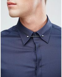 ASOS Blue Slim Twill Shirt With Collar Bar In Navy for men