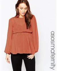 ASOS | Orange Maternity Tiered Folk Blouse | Lyst