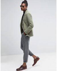 ASOS Green Skinny Blazer In Khaki With Fleck Detail for men