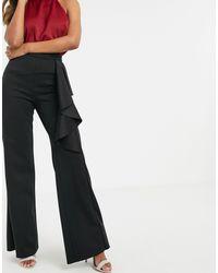 True Violet Black – Exklusive Hose mit hohem Bund und weitem Bein