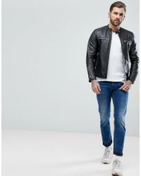 Replay Leather Biker Jacket Black for men