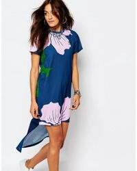 Adidas Originals Blue High Lo Maxi Dress In Engraved Floral Print