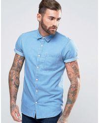 New Look Blue Regular Fit Short Sleeve Denim Shirt In Mid Wash for men