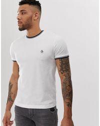 Sticker Pete - T-shirt girocollo con bordi a contrasto e logo bianca di Original Penguin in White da Uomo