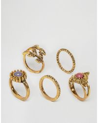 Ashiana - Metallic Multi Pack Of Rings With Leaf And Stone Detal - Lyst