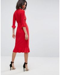 ASOS - Red Asos Wrap Front Midi Dress With Frill Detail - Lyst
