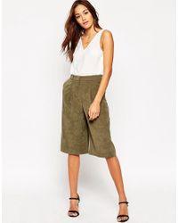 ASOS Green Textured Culottes - Khaki
