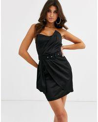 Vesper Black – Mini-Wickelkleid aus Satin