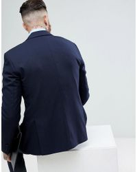 SELECTED Blue Slim Tuxedo Suit Jacket With Satin Lapel for men