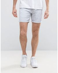 f00969d537 Lyst - River Island Chino Stripe Shorts In Blue And White in White ...