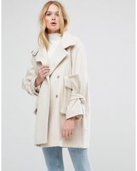 ASOS - Pink Asos Oversized Coat With Bow Sleeve - Lyst