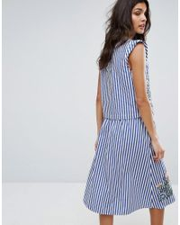 Mango - Blue Stripe And Embroidered Top - Lyst