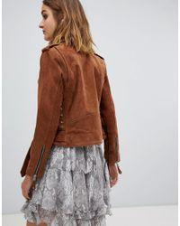 AllSaints - Brown Sarana Suede Biker Jacket - Lyst