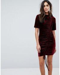 PRETTYLITTLETHING - Purple Ruched Detail Velvet Dress - Lyst