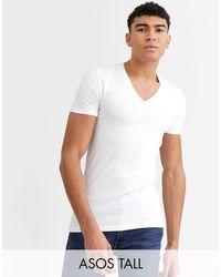 Camiseta ajustada con cuello ASOS de hombre de color White