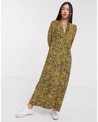 Платье Макси С Пестрым Желтым Принтом Femme-мульти SELECTED, цвет: Multicolor