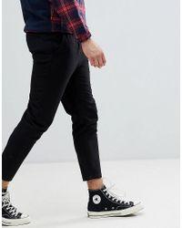Pantalones capri de vestir de corte slim con cordón ajustable en la cintura Jack & Jones de hombre de color Black