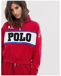 Sudadera con media cremallera Polo Ralph Lauren de color Red