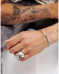 ASOS - Metallic Bangle And Ring Pack With Skull Design for Men - Lyst