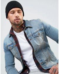 New Look - Rib Beanie In Black for Men - Lyst