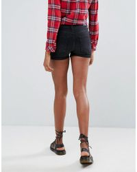 Pieces - Black Delly Denim Shorts - Lyst