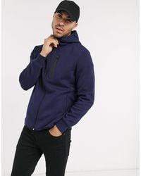 Pull&Bear Blue Zip-thru Hoodie With Contrast Trim for men