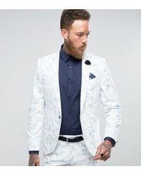 Noose And Monkey White Super Skinny Wedding Suit Jacket In Flocking for men