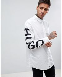 HUGO - Exploded Logo Sleeve Shirt In White for Men - Lyst