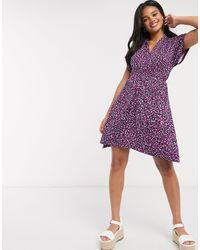 Розовое Платье С Запахом И Леопардовым Принтом -многоцветный French Connection, цвет: Purple
