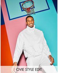 Sudadera extragrande con media cremallera y bolsillos utilitarios ASOS de hombre de color White
