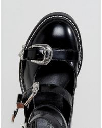 ASOS Black Oh Gosh! Multi Buckle Heeled Shoes