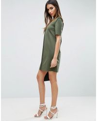ASOS | Green Mini Shift Dress With Exposed Seams | Lyst