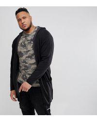 Only & Sons - Black Open Drape Hooded Cardigan for Men - Lyst