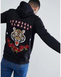 Criminal Damage - Black Muscle Tiger Back Print Hoodie for Men - Lyst