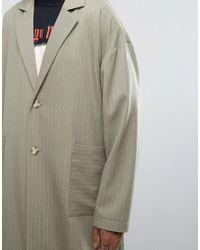 Reclaimed (vintage) Green Inspired Striped Duster Jacket for men