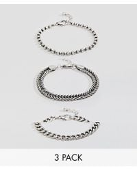 ASOS - Metallic Design Mixed Chain Bracelet Pack In Burnished Silver for Men - Lyst