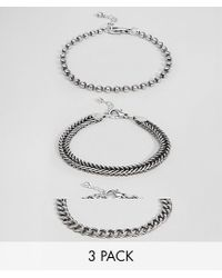 ASOS - Metallic Mixed Chain Bracelet Pack In Burnished Silver for Men - Lyst