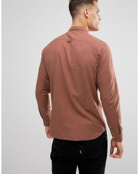 SELECTED Red Slim Fit Shirt In Brushed Cotton for men