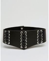 Glamorous - Black Corset Lace-up Eyelet Waist Belt - Lyst
