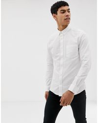 Only & Sons – Schmal geschnittenes Oxford-Hemd in White für Herren
