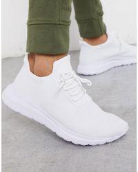 New Look White Knitted Running Sneaker for men