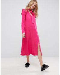 ASOS - Purple Drouser Midi Dress With Ruffle Hem - Lyst