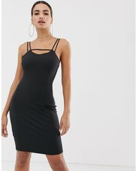 The Girlcode Black Strappy Cami Bodycon Dress